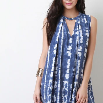 Tie Dye Sleeveless Shift Dress
