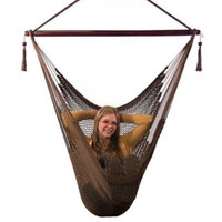 Caribbean Extra Large Mocha Hanging Hammock Swing Chair Indoor Outdoor