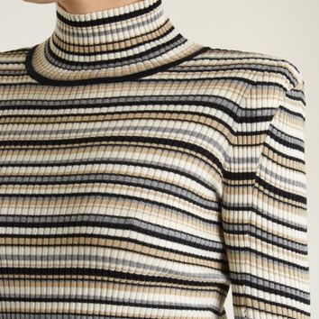 Roll-neck striped cotton-blend knit sweater | Chloé | MATCHESFASHION.COM US
