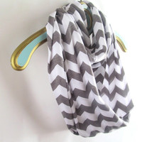 Gray chevron  infinity scarf**Back Order about 1-2 weeks***