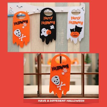 Halloween Door Hanger  Pumpkin Ghost Skeleton  Cat Door Festival Decoration Halloween Party Supplies Non-woven Door Hanger Props