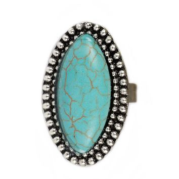 Women's Vintage Large Stone Turquoise Colored Antique Rings.   In A Variety of Shapes.   Rings Are Adjustable.   ***FREE SHIPPING***