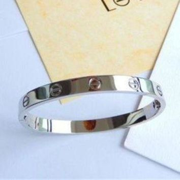Cartier Love Bangle Bracelet in 18k Fashion Trending White Gold size 18 G