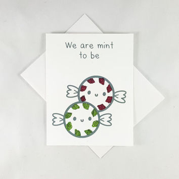 We are mint to be, Love Card, Funny Card, Funny Greeting Card, Greeting Cards, Pun Card, Cute Card, Valentine's Card, Kawaii Card, Mint