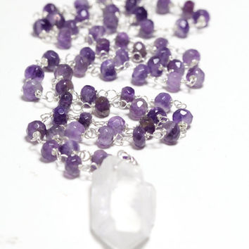 Amethyst Necklace Rosary Necklace Purple Necklace