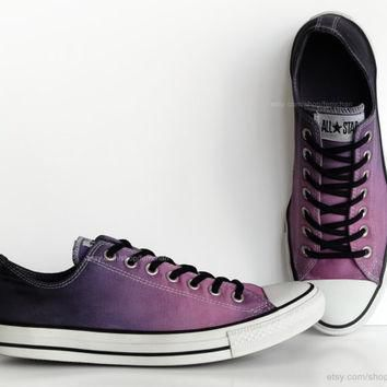 purple ombr dip dye converse all stars low tops upcycled sneakers transformed vin