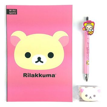 San-x Rilakkuma A5 Note School Supply Stationary Note Pencil Eraser Set : Pink $4.99