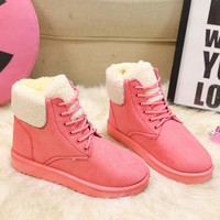 Classic Women Winter Boots Ankle Boots Women Shoes Winter Boots Round Toe Lace-Up Flat With Female Warm Winter Shoes PA400329