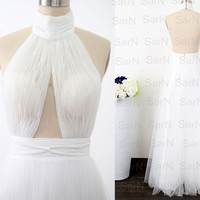 Sexy Gown, White Long Prom Dresses, Custom White Tulle Sexy Long Formal Gown, Open Back Long Prom Gown