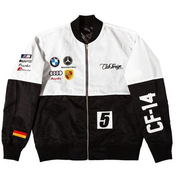 Club Foreign 2t Racer Jackets In White / Black - Beauty Ticks