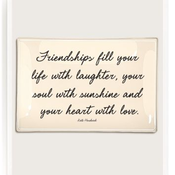 Friendships Fill Your Life Decoupage Glass Tray