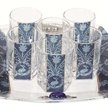 Cheers Collection Liquor Set with 6 Glasses And Tray Applique - Blue - Tray 8 inch  X 8 inch  - Cup 2 inch  H