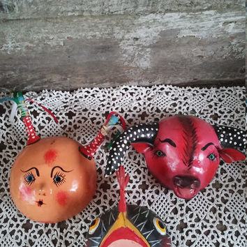 Halloween Decor, Masks, Mardi Gras Wall Decor, Mexican Handpainted Coconut Masks, Vintage, Home Decor, Wall Hangings, Bull, Roaster, Girl