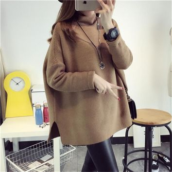 Fashion Mohair Side Slits Split  Mock Neck Loose Casual Knitted Drop Shoulder Female Lady Women Pullover Sweater Coat