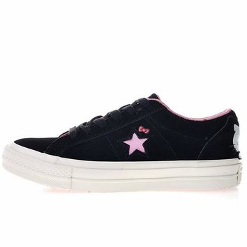 KUYOU Hello Kitty x Converse One Star Black Suede Low Top Skate Shoes Black