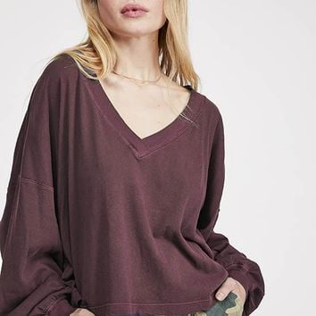 Free People - Brown V Buffy V Neck Long Sleeve Tee