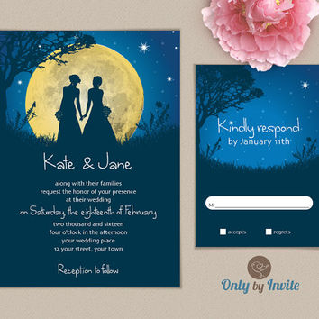 Lesbian Wedding Invitation | Starry Night | Same Gender Wedding Invitations | Civil Ceremony Invitation