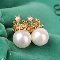 Golden Crowned Pearl Statement Earrings