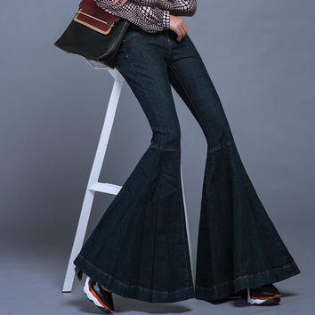 Unique Design Fish Mouth Big Flared Jeans Female Super Slim Fish Tail Flared Jeans Wide Leg Denim Pants