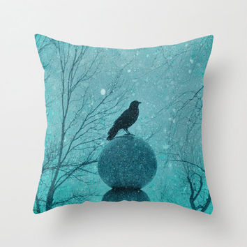 Winter Crow Pillow Cover, Raven Houseware, Blackbird Art Throw Pillow Case, Nature Decor, Aqua Blue - Blue Snow Pillow Cover