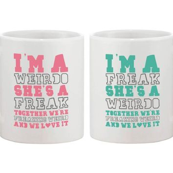 Cute Coffee Mugs for Best Friends - Together We're Freaking Weird - BFF gift and accessories