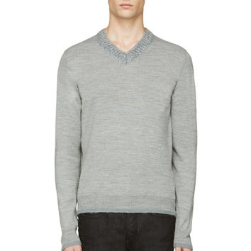 Diesel Heather Grey V-neck K-gitika Sweater