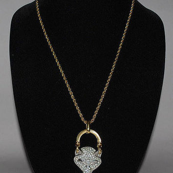 Authentic Christian Dior Fox Lucky Horse Shoe Vintage Necklace