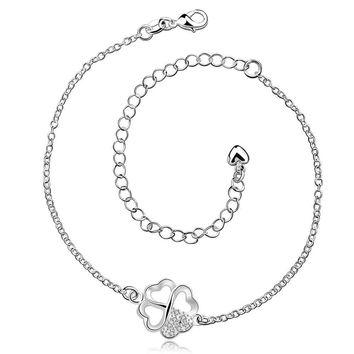 silver plated anklet Clover white leg bracelet Personalized SMTA 3 MP