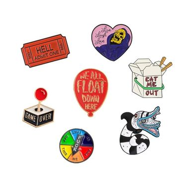 Brooch and Pin Red Ticket Death Heart Balloon Game Turntable Console Gamepad Snake Food box Enamel Pin Badge Brooch Collection
