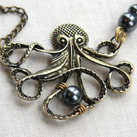 20% BLACK FRIDAY SALE My Bubbles, Large Bronze Steampunk Bronze Octopus Wire wrapped Black Pearls, Long Single Stand Chain Necklace, Captain