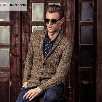 Men Shawl Collar Cardigan Sweater New 2017 Autumn & Winter Cable Knit Male Knitwear 100% Cotton Free Shipping