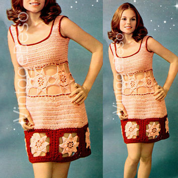 Peekaboo Stars Dress CROCHET Pattern Vintage Party Dress Super Retro Sexy Instant Download Digital PDF Vintage Beso Crochet Pattern