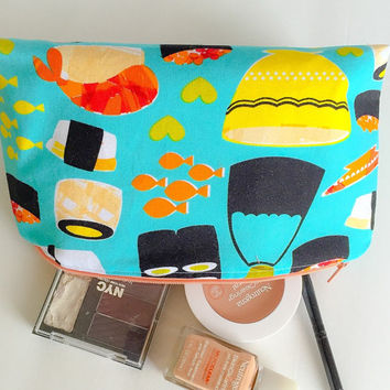 Makeup Bag - Cosmetics Case - Toiletry Storage / Pen or Pencil Case Michael Millers Turquoise Sushi