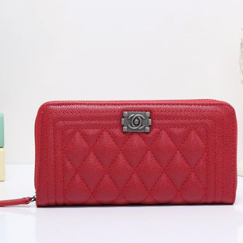Chanel Women Leather Zipper Shopping Wallet Purse-4