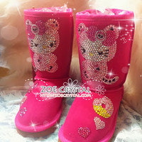 PROMOTION WINTER Fuschia UGG Inspired Sheepskin Fleech/Wool Boots with Crossover Hello Kitty made with Swarovski / Czech elements - ZoeCrystal