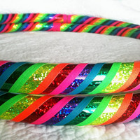 Love and Light Dance & Exercise Hula Hoop COLLAPSIBLE or STANDARD neon pink  yellow green purple rainbow