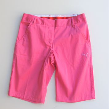 Puma Golf Sateen Pink Bermuda Shorts 4 NWT