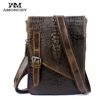 AMONCHY Crocodile Men Messenger Bags Genuine Leather Men's Crossbody Bags Vintage Waist Pack Alligator Male Shoulder Handbag M03