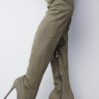 Demi Over The Knee Boots - Olive