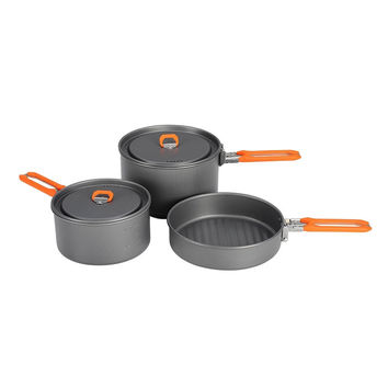 Fire Maple Feast 3 Outdoor Camping Hiking Cookware Backpacking Cooking Picnic Pot Pan Set Foldable Handle 2 Pots 1 Frypan FMC-F3