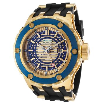 Invicta 16816 Men's Subaqua Reserve Skeleton Gold & Blue Dial Steel & Rubber Strap GMT Dive Watch