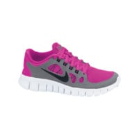 Nike Free 5.0 3.5y-7y Girls' Running Shoes - Pink Foil