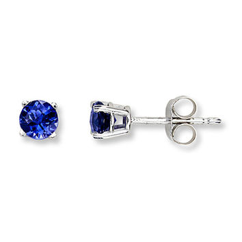 Lab-Created Sapphire 14K White Gold Earrings