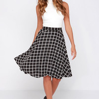 Crosshatch My Heart Black and Ivory Grid Print Midi Skirt