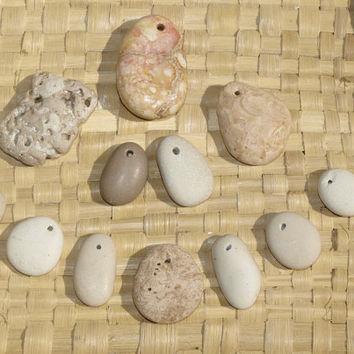 Natural Caribbean Beach Stone Beads, pendants, drilled pebbles, DIY jewlery, white, beige, earthy stones, mix shapes and colors, 12 stones