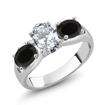 2.28 Ct Oval White Zirconia Black Onyx 925 Sterling Silver Ring