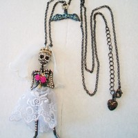 eBlueJay: Betsey Johnson Skeleton Bride Necklace Day of the Dead Dia de los Muertos