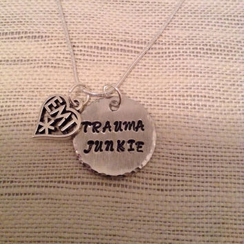 Emt necklace, trauma junkie necklace, emt pendant, emergency medical tech