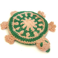 Vintage turtle Hot Pads Doilies / crocheted knit / handmade