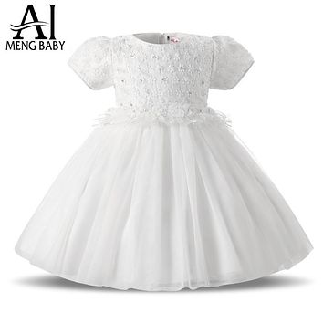 Ai Meng Baby Girl Christening Gowns Infant Snow White Baby Girl Baptism Dress Tutu First Birthday Kids Party Dresses For Girls